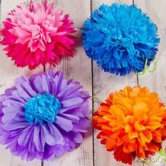 Tissue Paper Flowers How-To