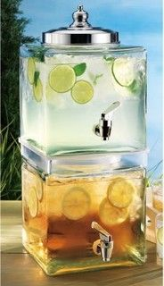 2 Tiered Cubic Glass Beverage Server - traditional - serveware - by Classic Hostess