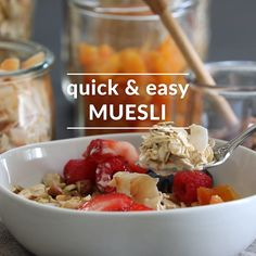 This easy homemade muesli recipe is made with just a few basic pantry ingredients, and you can use it to make a cooked porridge or enjoy it as a breakfast topping. It's also one step removed from granola, if that's what you're feeling. Recipes Breakfast Video, Healthy Breakfast Recipes, Healthy Recipes, Healthy Muesli Recipe, Raw Food Recipes, Gourmet Recipes, Porridge Recipes, Breakfast Bowls, Breakfast Porridge