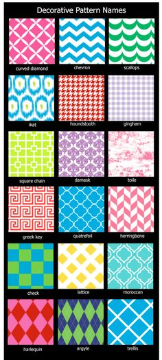 Pattern names for most common patterns used for graphic design, fabrics, and paper. Graphic Pattern Names. Great Graphics Designs Pattern Names