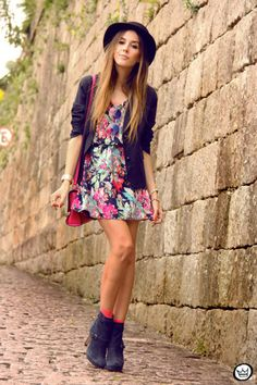 edgy neon floral dress || zazumi.com