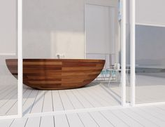 [Bathroom] : Interesting Bathroom Decoration With One Wooden Freestanding Of Wooden Bath Tube As Long As One Big Wall Mirror In Frame Also Entering Door In Glass With White Frame