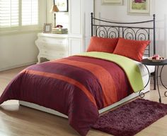 More Detail >>> http://outlet9.com/product.php?asin=B005O31YEY Chezmoi Collection Retro Floral Orange Burgundy Yellow Stripe Printed 2-Piece Reversible Comforter Set, Twin/X-Large Twin