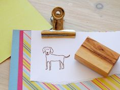 Charity Stamp Friendly Dog Olive Wood Stamp by ahueofduckeggblue