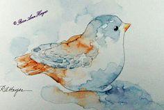Watercolor Paintings by RoseAnn Hayes: Baby Bird Figurine