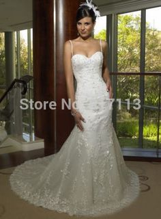Find More Wedding Dresses Information about Stunning Vintage White Ivory Mermaid Low Back Wedding Dresses Gowns Lace Dreamy Spaghetti Straps Free Shipping,High Quality strap corset,China strap sunglasses Suppliers, Cheap dress school from Rosesnowke  store on Aliexpress.com