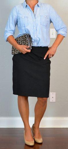 outfit post: dandelion short sleeved utility blouse, grey cardigan, black a-line skirt