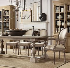 75 Vintage Dining Table Design Ideas DIY – Best Home Decorating Ideas French Dining Chairs, French Country Dining, Country Dining Rooms, Dining Room Chairs, Side Chairs, French Farmhouse, Office Chairs, Country Farmhouse, Dining Tables