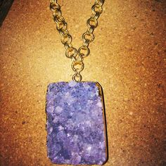 Golden Nugget Necklace - This large purple amethyst is awesome on this multi link satin Hamilton chain - $52.00