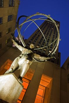 Atlas  NY - Atlas Shrugged is my favorite book and I love the image of the world on Atlas' shoulders