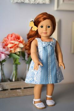"""The Sadie 18"""" Doll Dress is a vintage beauty. Sadie is a paneled dress allowing for showcase fabrics and also..."""