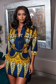 The Rojo Shirt is stunning in the Colorful African Print. It's comfy to wear and will make sure you stand out in a crowd African Prom Dresses, Latest African Fashion Dresses, Women's Fashion Dresses, Ankara Fashion, Woman Dresses, African Inspired Fashion, African Print Fashion, Africa Fashion, Tribal Fashion