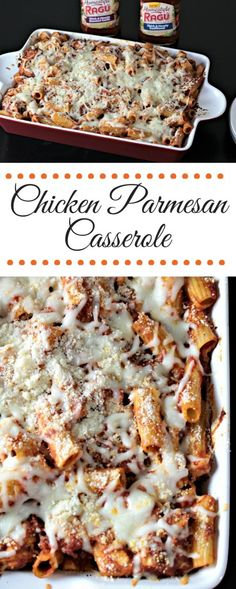 Chicken Parmesan Casserole features breaded chicken, pasta, jar sauce, mozzarella, and Parmesan cheeses. A new and delicious way to eat a classic dish! #ad #Ragu #SimmeredinTradition @RaguSauce