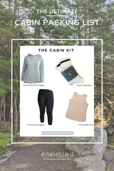 Your one-stop-shop to take you from a hike to the campfire. Weekend Getaway in Encircled's versatile minimalist clothes with the everyday traveler in mind. Each piece is ethically made, out of sustainable materials. Weekend Packing List, Packing List For Travel, Packing Lists, Travel Tips, Cabin Socks, Summer Vacation Outfits, Travel Clothing, Cabin Kits, Pink Quartz