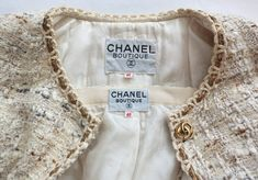 Vintage CHANEL Creme bouclé tweed gold bullion skirt suit at Chanel Outfit, Chanel Fashion, Couture Fashion, Fashion Brand, Chanel Jacket Trims, Chanel Style Jacket, Couture Details, Fashion Details, Chanel Creme