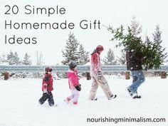 holiday, homemad gift, gift ideas, homemade gifts, simpl homemad, diy gifts, 20 simpl, christmas trees, nourish minim