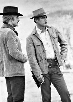 Robert Redford and Paul Newman take a smoke break on the set of Butch Cassidy and the Sundance Kid [1969].