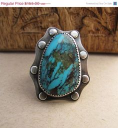 Sterling Silver Turquoise Ring. Large Statement Ring. on Etsy, $131.75