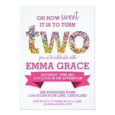 Candy Theme 2nd Birthday Party Sprinkles Invite