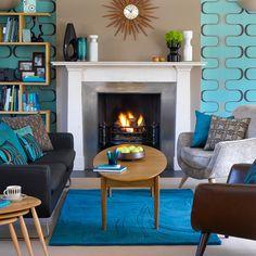Turquoise living room. Mid-century modern. Retro.