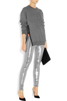 Metallic Moment: high-shine finishes lend lustre to fall. Sass & bide|Opposing Forces sequined jersey leggings.