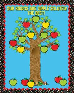 """Perfect as a back-to-school or fall display using CTP's Poppin' Patterns Apples! This simple CTP apple themed display is sure to add a punch of color to your classroom or hallway! [Or if you're in charge of putting together your school's student-of-the-month display, this would make a fun theme for September - i.e. """"Lake Elementary's Students of the Month Are 'APPLE'solutely The Best!""""]"""