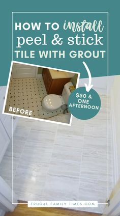 Easy on the budget and easy to install - here's how! A perfect floor for a beginner DIY project! Includes tips and steps for how to grout peel and stick vinyl tiles. $50 plus one afternoon equals a Beautiful New Floor. Learn how to grout vinyl tile. #Flooring #VinylTile #PeelAndStick