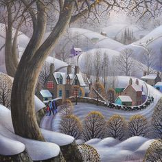 Moving the cows Cow Art, Art Painting, Amazing Art, Naive Art, Painting, Whimsical Art, Irish Art, Folk Art Painting, Winter Art