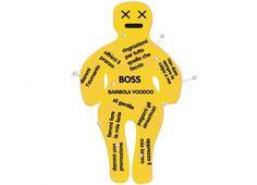 BAMBOLA VOODOO 40CM BOSS. Maxi bambola voodoo in pezza color giallo,in scatola cartonata,con 12 spilloni-dedica