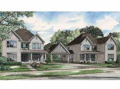 Eye-Catching Traditional Duplex (HWBDO56283) | Country House Plan from BuilderHousePlans.com