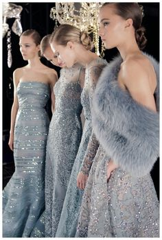 Shades of grey for the bridesmaids Dresses by Elie Saab | dusty blue