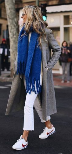 Winter Outfit Ideas Youre Going to Love how to style a blue scarf : grey coat white pants sneakers Fashion Mode, Look Fashion, Womens Fashion, Fashion Trends, Mode Outfits, Stylish Outfits, Fashion Outfits, Modest Fashion, Fashion Clothes