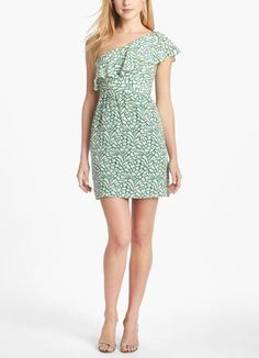 This ruffled, printed bridesmaid dress is perfect for a beach wedding!