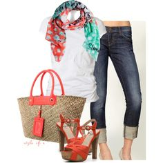 """""""Summer Coral Casual"""" by styleofe on Polyvore"""