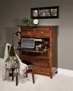 Amish Geneva Secretary Desk Unique combination of a storage chest and secretary desk. Bottom drawer is a file drawer. The versatility of this desk makes it a hot item. Custom built in choice of wood and stain. #secretarydesk #desks #woodfurniture
