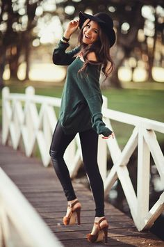 leather pants + green sweater + hat