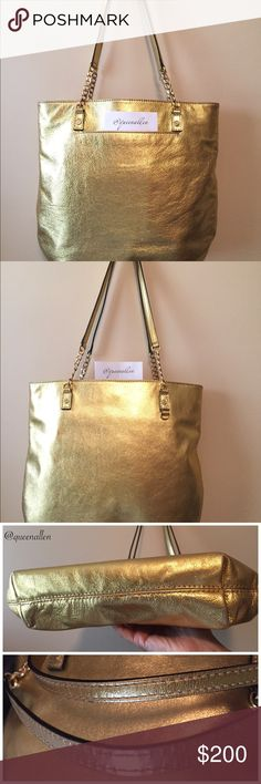 """Michael Kors Jet Set Chain Tote Metallic Gold •Excellent Used Condition  •100% Pebbled Leather •Height: 13.5"""" •Width: 13.5"""" •Depth: 2.5"""" •Strap Drop: 11"""" •Gold-tone hardware •Magnetic closure •Exterior: 1 Slip Pocket; 1 Bag Charm Hook (Charm Not Included) •5 Interior pockets: 4 Slip and one Zipper   Purchased at Marshall years ago. Used a handful of times, this chain tote is roomy and lightweight. Front slip pocket is convenient for things you use the most. No signs of wear or tear. Michael…"""