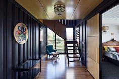 Shipping container house, made with 31 containers welded together