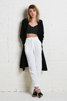 LIKE A BOSS.  http://thereformation.com/RUE-TOP-DRUMCIRCLE.html  http://thereformation.com/NOIR-TROUSER-IVORY.html