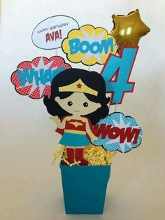 Custom Wonder Girl and Iron Man Super Hero Birthday Party Centerpieces for Monica Wonder Woman Birthday, Wonder Woman Party, Birthday Woman, Birthday Party Centerpieces, 4th Birthday Parties, 5th Birthday, Birthday Ideas, Girl Superhero Party, Party Themes
