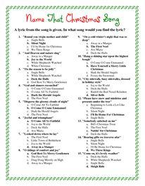 Printable Christmas Song Answers