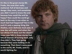 So amazing. *sob* Especially becauser it's double-true for me. The first time I watched Lord of the Rings, I was to young to tell Aragorn from Boromir and mixed up Haldir and Legolas. But still, it stayed with me and I still love it to pieces.
