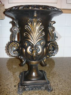 Large Vase. Castillian design. Old World, Tuscan, Medieval, Traditional Home Decor. Hand made and hand painted antique gold.