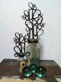 Decorative glass bottles, hand soldered with Austrian crystal and vintage Czech glass | The Juicy Leaf