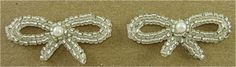 """Bow Pair Silver Beads and Pearl 1.5"""" X 1""""."""
