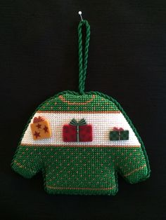 Needlepoint Christmas Sweater Ornament