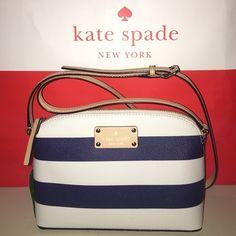 """Kate Spade Hanna Kate Spade Hannah in white and navy strip with tan handle and gold hardwear. Bag is great for weekends out! Measures 9"""" wide 6.5"""" tall 3"""" deep kate spade Bags Crossbody Bags"""