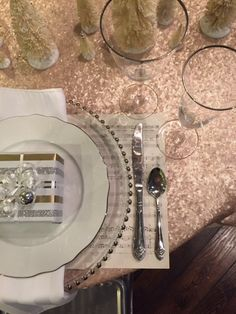 Blush Sequin Linen - Holiday Table Scape