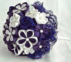 Isla's purple and white kanzashi fabric flower bouquet