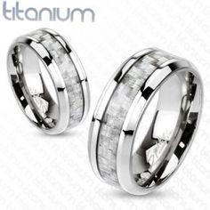 Silver Carbon Fiber Inlay Center Band Ring